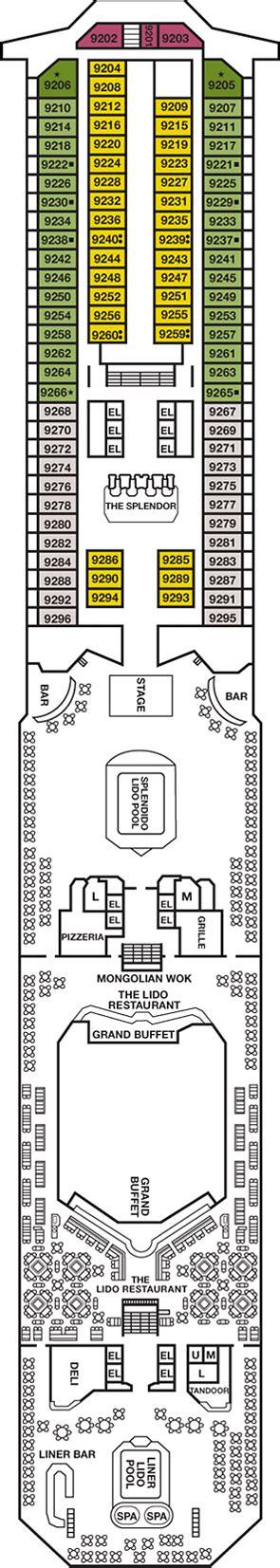 Carnival Splendor Lido Deck Plan by Carnival Splendor Lido Deck Deck Plan Carnival Splendor