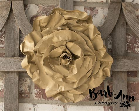 Gray Gold And Cream Paper Flower Set Barb Ann Designs