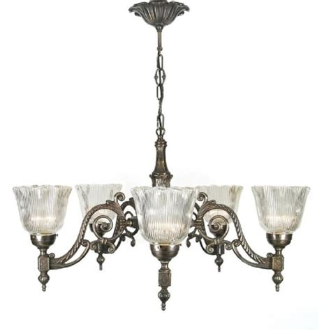 Period Chandeliers by Period Aged Brass Chandelier With Halophane