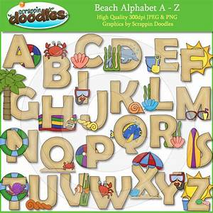 beach days alphabet clip art With beach themed letters