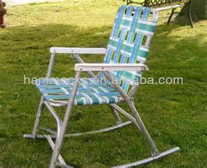 vintage aluminum folding webbed rocker chair lawn sun sunbeam cookouts