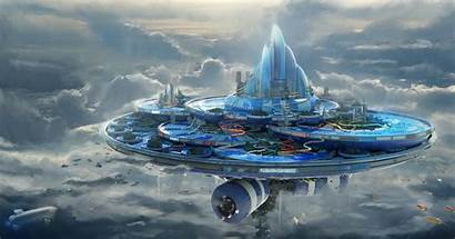 Floating Futuristic Island Sci Fi Clouds Park