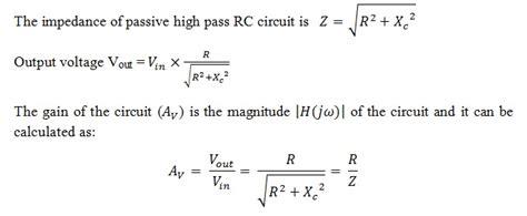 Order Passive High Pass Filter Circuit Design