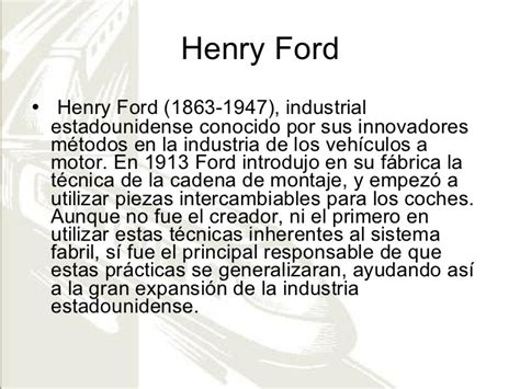 Henry Ford Resumen by Revoluci 243 N Industrial Inventos Personajes