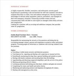 resume format for security guard sle security guard resume 7 free free documents in pdf word