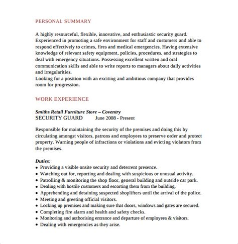 Bodyguard Resume by Sle Security Guard Resume 7 Free Free Documents In Pdf Word