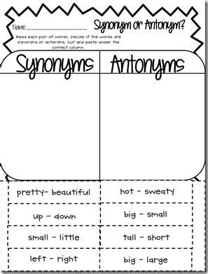 free synonym antonym word work worksheet classroom pinterest chef hats words and word work