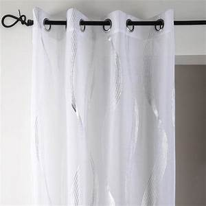 Voilage Gris Et Blanc : voilage 135 x h240 cm essaouira blanc voilage eminza ~ Dailycaller-alerts.com Idées de Décoration