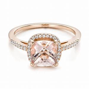 custom morganite and diamond halo rose gold engagement With rose gold morganite wedding rings
