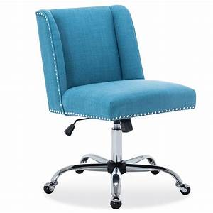Belleze, Upholstered, Fabric, Office, Chair, Nailhead, Trim, Swivel, Task, Chair, Height, Adjustable, Blue