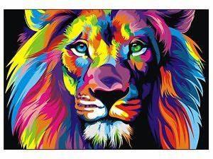 CANVAS Banksy Street Art Print RAINBOW LION PAINTING 70cm