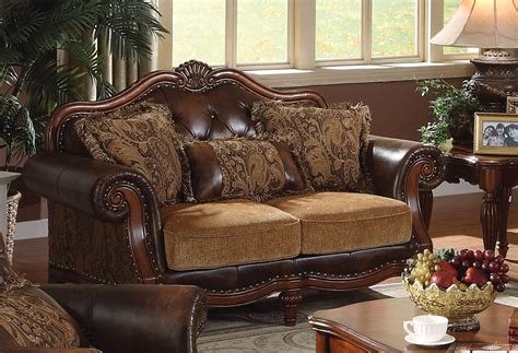 Traditional Sofas And Loveseats by Delphina Traditional Sofa Loveseat In Brown Faux Leather