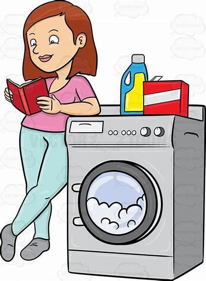 Laundry Clipart Woman Waiting Laundromat Kills Reading