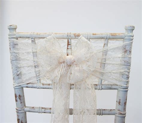 buy lace sash ivory from chair cover depot
