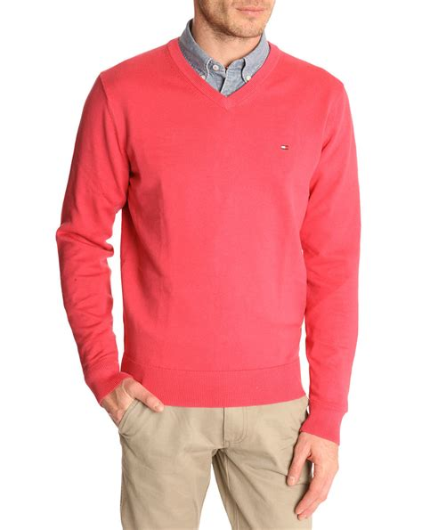 hilfiger sweater hilfiger pacific v neck carmine cotton sweater in