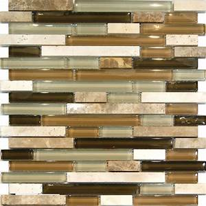 Sample marble travertine stone green brown glass linear for Glass and marble mosaic tile backsplash