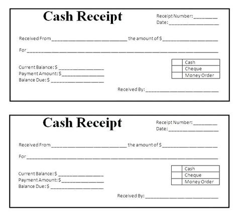 template  receipts  cash payments loan payment