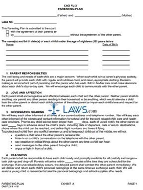 colorado form motion to restrict parenting time form cao 6 3 parenting plan agreement idaho forms