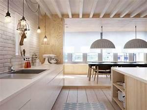 Cuisine Avec Parquet : credence carrelage metro et parquet dans cuisine blanche ~ Melissatoandfro.com Idées de Décoration