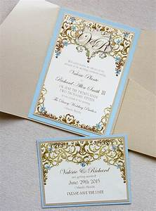 Valerie p light blue and gold framed monogram wedding for Rose gold winter wedding invitations