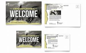 bible church postcard template design With promotional postcard template