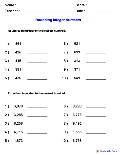 rounding worksheets for integers math center