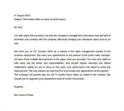employment termination letter 15 termination letters sle templates 7764