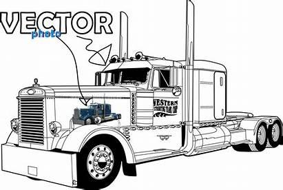 Truck Semi Clipart Peterbilt Drawings Trucks Drawing
