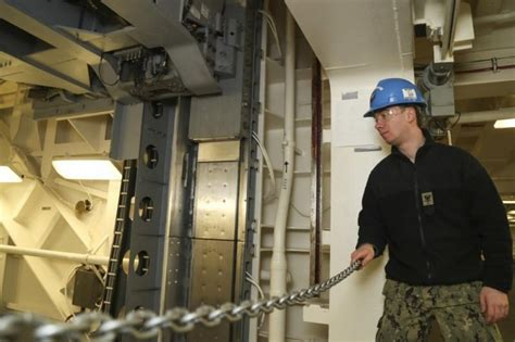 elevator ford gerald weapons uss advanced second upi completed carrier aircraft navy