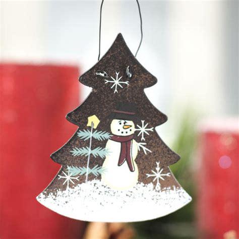rustic metal snowman christmas tree ornament signs