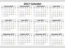 2017 Calendar One Page yearly printable calendar