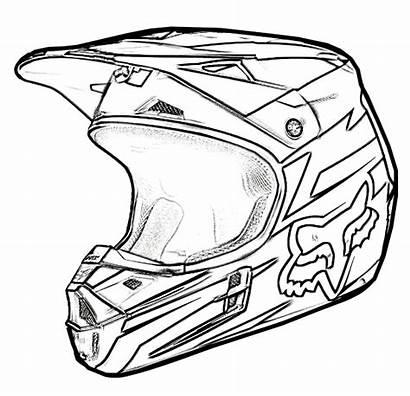 Bike Coloring Dirt Helmet Pages Sketch Drawing