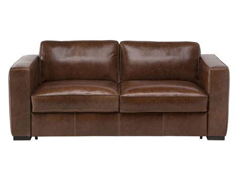 salon canapé conforama canapé fixe 3 places en cuir havane coloris marron vente