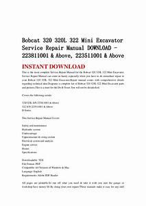 Bobcat 320 320 L 322 Mini Excavator Service Repair Manual Download