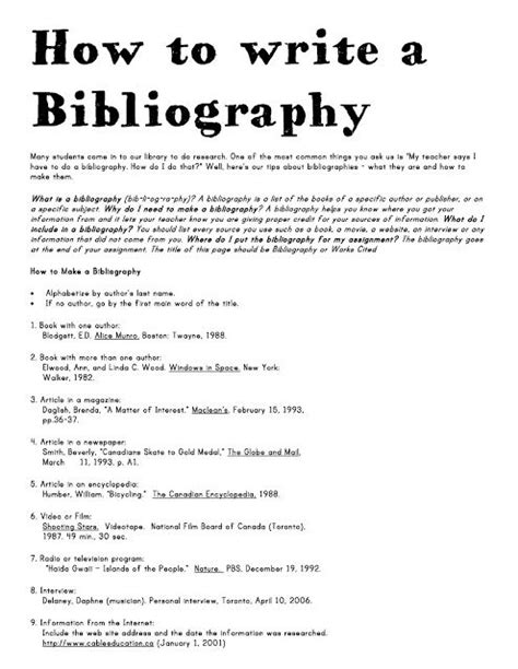 how to write a bibliography 4th grade