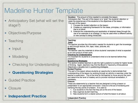 Lesson Plan Template Madeline Hunter Costumepartyrun