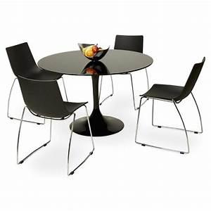 Table En Verre Ronde : table ronde design marjorie en verre 120 cm noir ~ Teatrodelosmanantiales.com Idées de Décoration