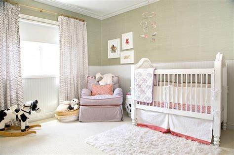 Lavender Girl Nursery With Gray French Crib-transitional