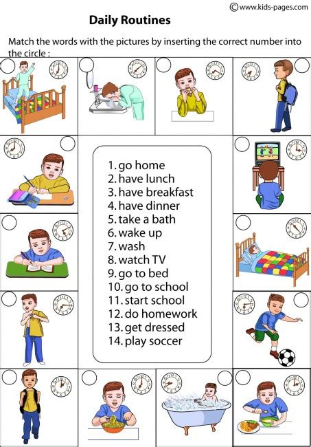 daily routines matching worksheet