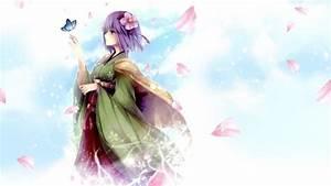 Touhou, Purple, Hair, Kimono, Petals, Butterfly, Anime, Wallpapers, Hd, Desktop, And, Mobile