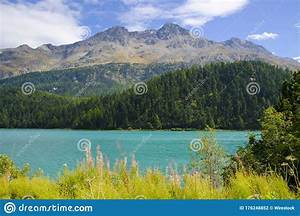 Champfer, Alpine, Lake, Surrounded, By, Mountains, Covered, In