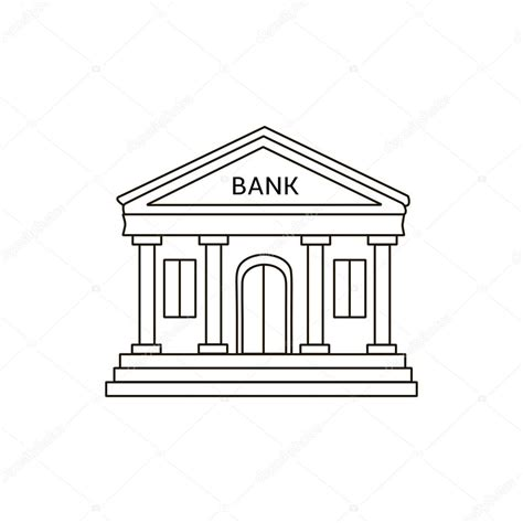 Banco Stock Vector Edificio Lineas Edificio Banco Icono