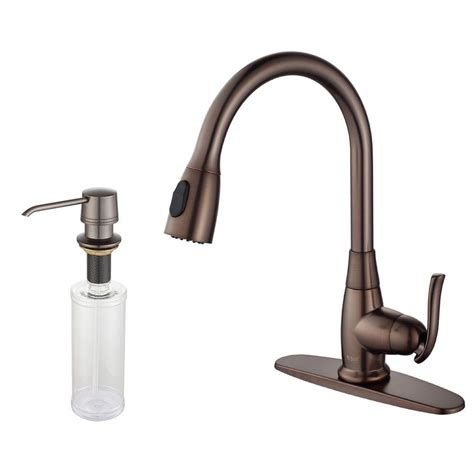 kitchen faucets with soap dispenser kraus single handle stainless steel high arc pull