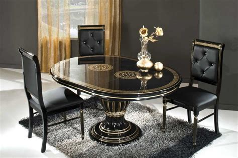 Small Black Rug Under Oval Glass Top Dining Table Combined