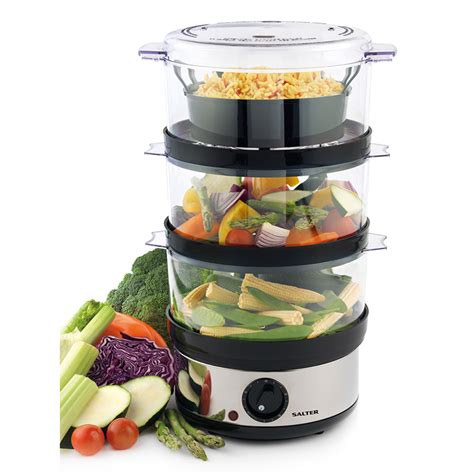 steamer cuisine salter 3 tier food steamer home cooking b m
