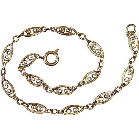 gold bracelet 14k 14k yellow gold filigree chain bracelet from bejewelled on