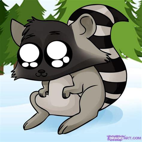 draw  cartoon raccoon step  step cartoon