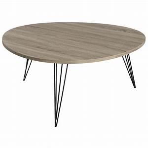 Table Basse Pied Bois : table basse forme galet r tro bois et pieds m tal noir en ~ Teatrodelosmanantiales.com Idées de Décoration