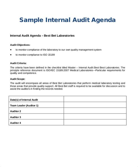 Audit Scope Template by 9 Sle Audit Agenda Free Sle Exle Format