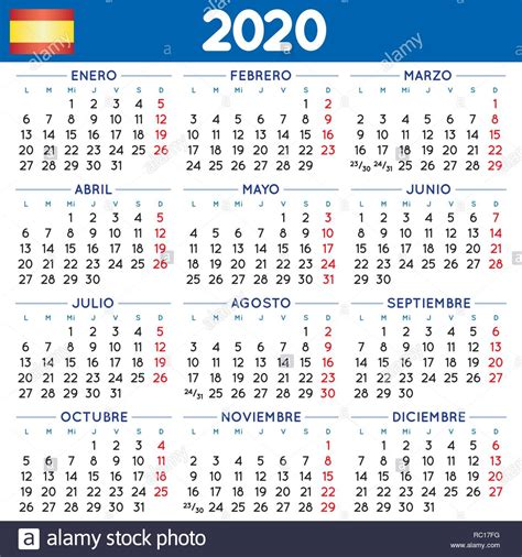 elegante calendario squadrato spagnolo anno